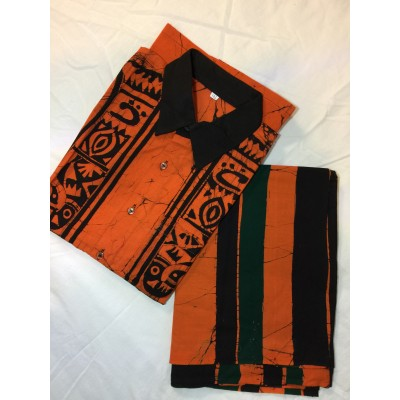 Batik Sarong and Shirt-full kit (Orange/Black)