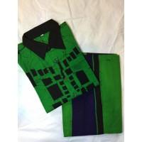 Batik Sarong and Shirt-full kit (Green/Black)