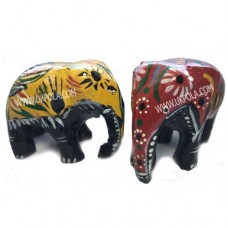 Wood Carved Painted Sri Lankan Elephant Ornament Statue